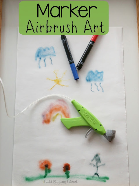 Kids can focus on the process of making art with this amazing marker airbrush technique!