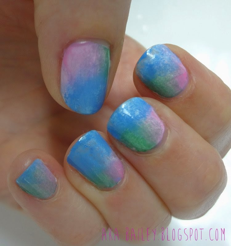 Sponged pink, blue and green nails