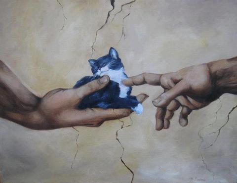 detail of Sistine chapel with Adam holding a kitten