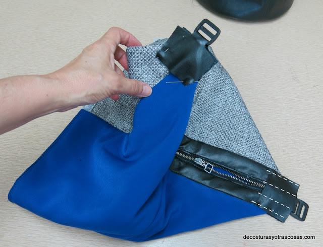 coser hebillas en un bolso