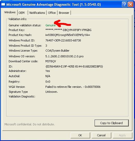 windows xp genuine advantage validation tool download