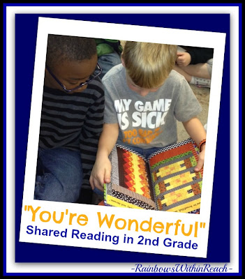 "photo of: Second Graders Reading Picture Book ""You're Wonderful"" via RainbowsWithinReach"