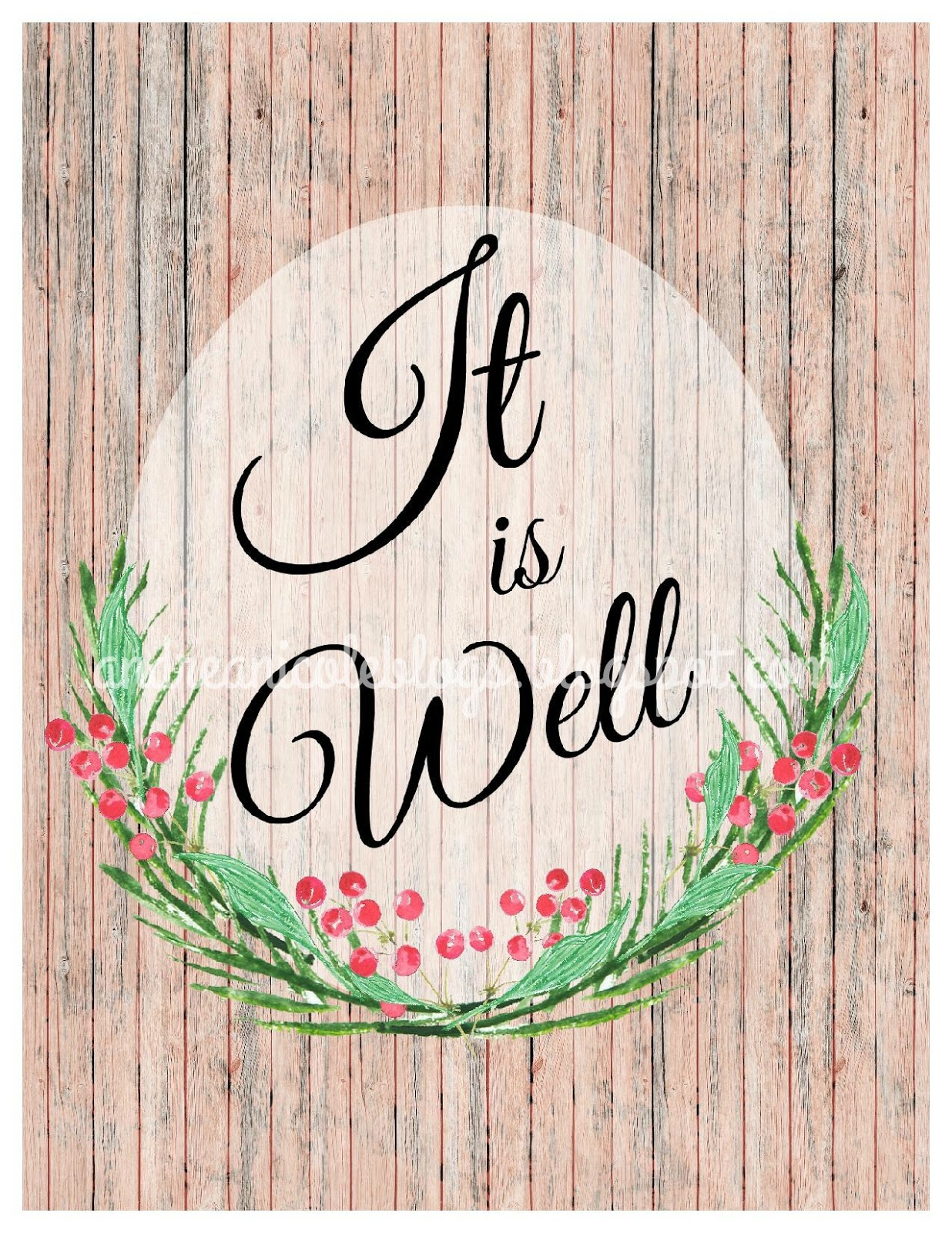 Andrea Nicole It Is Well Wall Art Free Printable