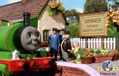 Sir Topham Hatt Thomas the train station master thanked Percy the tank engine tricky garden gnomes