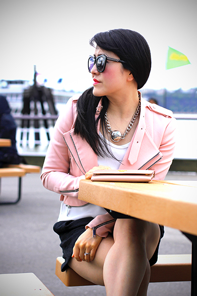 MNG white cami with Zara pink moto jacket with zips