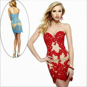 Beautiful Lace Mermaid Short Prom Dress Red Black Blue White Custom