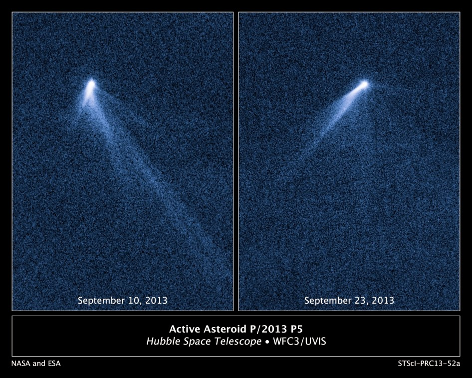 Hubble Space telescope image of the six-tailed comet P/2013 P5