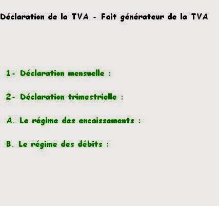 Déclaration de la TVA - Fait générateur de la TVA