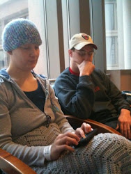 Pre-op wearing my hand-crocheted cap with my prayer shawl.