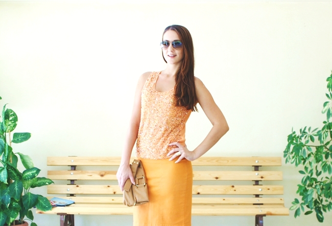 Monochromatic look | Sophisticated Orange.Claire orange pencil skirt.Embellished sheer orange top.Shooz leather snakeskin sandals.Ray Ban Aviator light brown sunglasses.