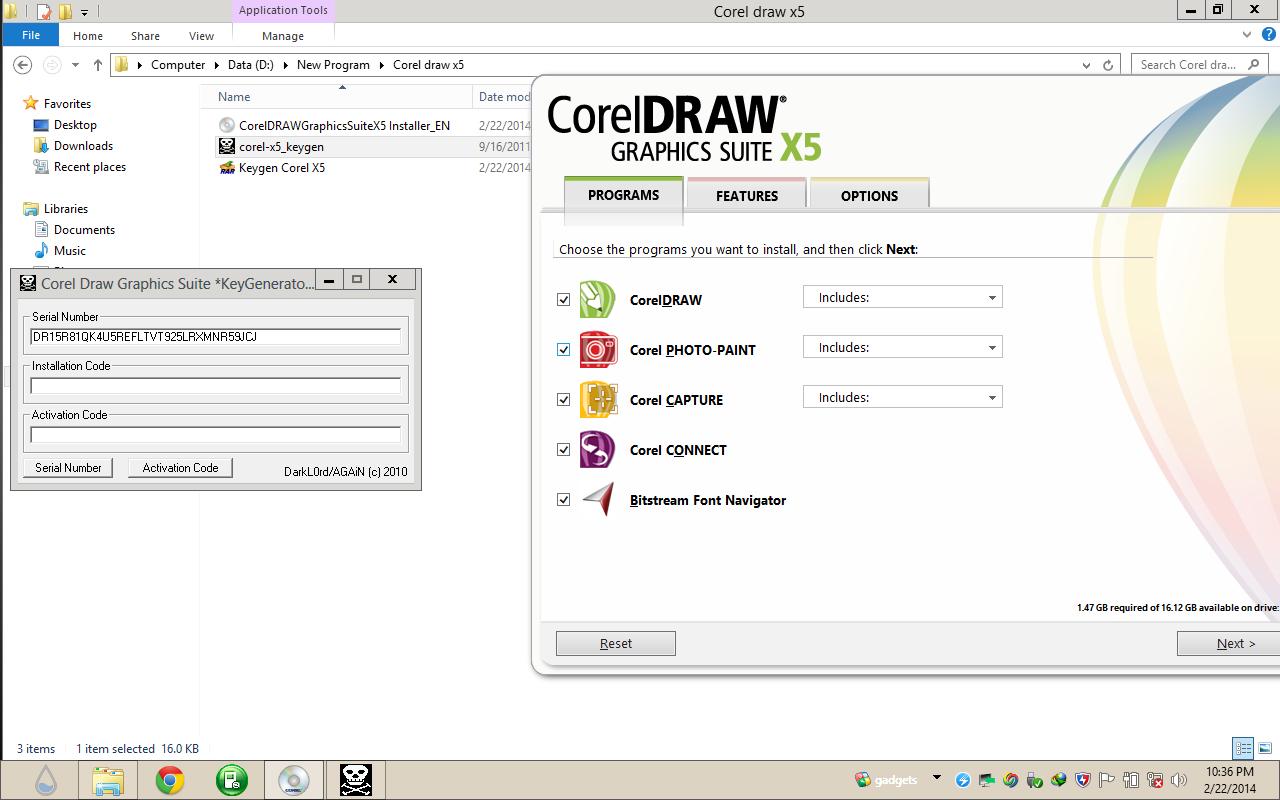 aplikasi bawaan corel draw x5