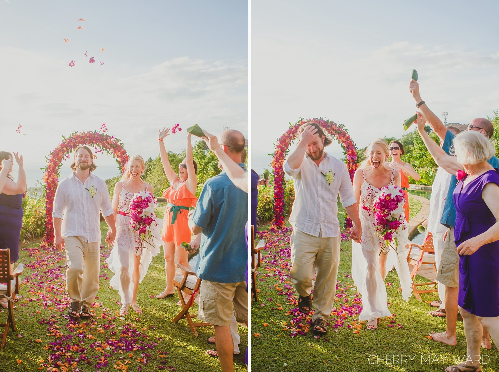 just married, throwing flower petals over the bride and groom, walking back up the aisle, happy, intimate destination wedding in Thailand, Cherry May Ward Photography