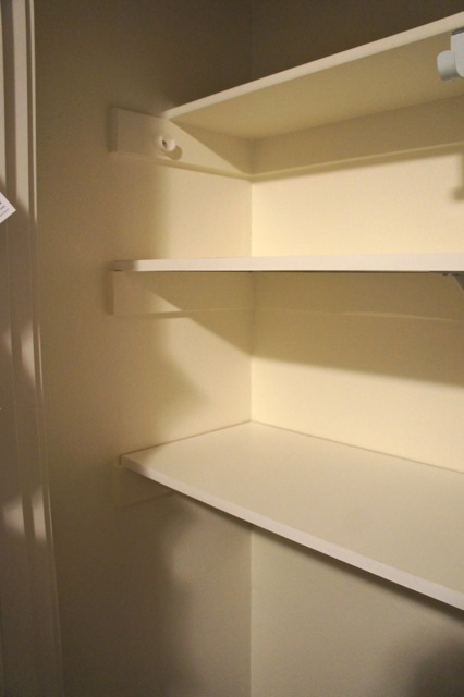 In The Coat Closet I Screwed Support Beams Into Studs Caulked Painted Everything White And Then Positioned Hooks Where Wanted
