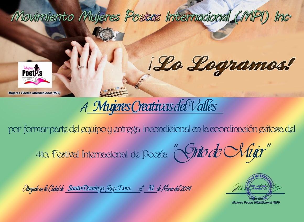 "Diploma 2014 ""Grito de Mujer"""