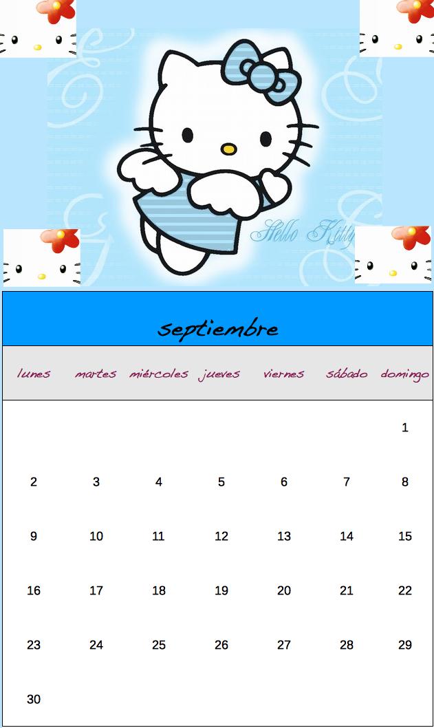 Imprímete el calendario de Hello Kitty de septiembre y en breve te ...