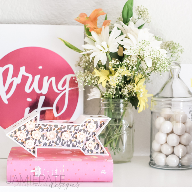Target DIY Marquee ~ Style any shelf with lit up arrow using Heidi Swapp's new Marquee letters found at Target.  @jamiepate