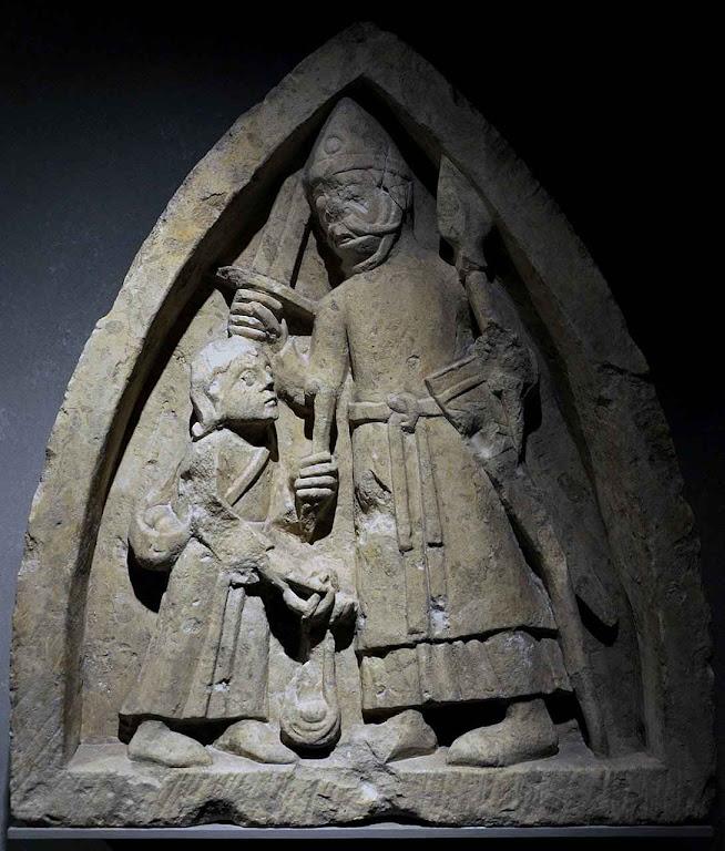 O pequeno pastor Davi enfrenta o gigante Golias, século XII. Museu des Beaux-Arts de Cambrai, França.