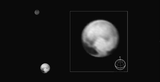 This image of Pluto and its largest moon Charon, taken by the Long Range Reconnaissance Imager (LORRI) on July 1, 2015, from a distance of 10 million miles (16 million kilometers), shows features as small as 100 miles (160 kilometers) across. Credit: NASA/Johns Hopkins University Applied Physics Laboratory/Southwest Research Institute