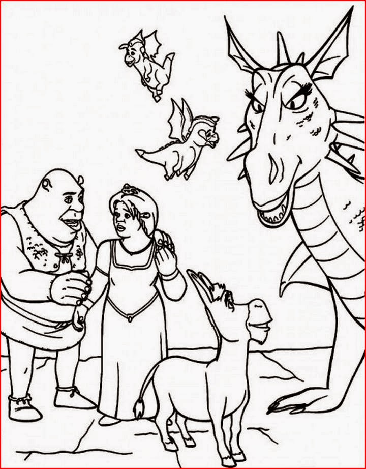 Coloring pages female dragon coloring pages free and for Shrek dragon coloring pages