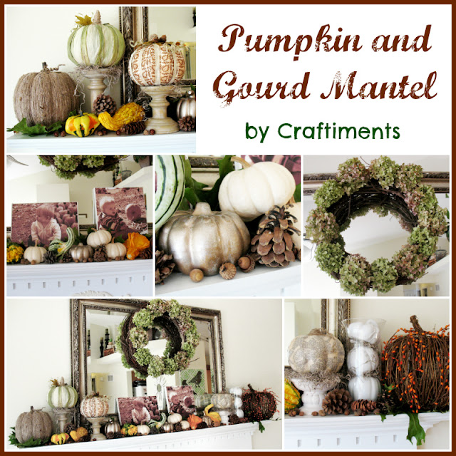 Craftiments:  Autumn pumpkin and gourd mantel