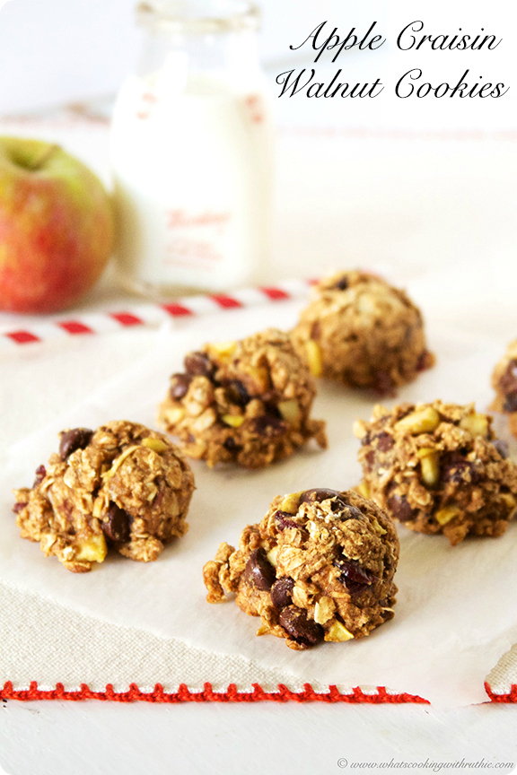 Apple Craisin Walnut Cookies #healthydessert #cookies