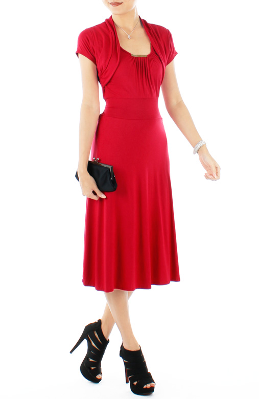 Graceful Flare Knee Length Dress with Crop Cardi