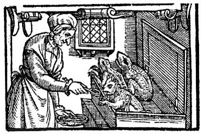 """A late sixteenth-century English illustration of a witch feeding her familiars. The use of the familiar was something that witches and cunning folk were believed to have in common."" ca. 1579, from, ""Cunning folk in Britain"" @ Wikimedia Commons"
