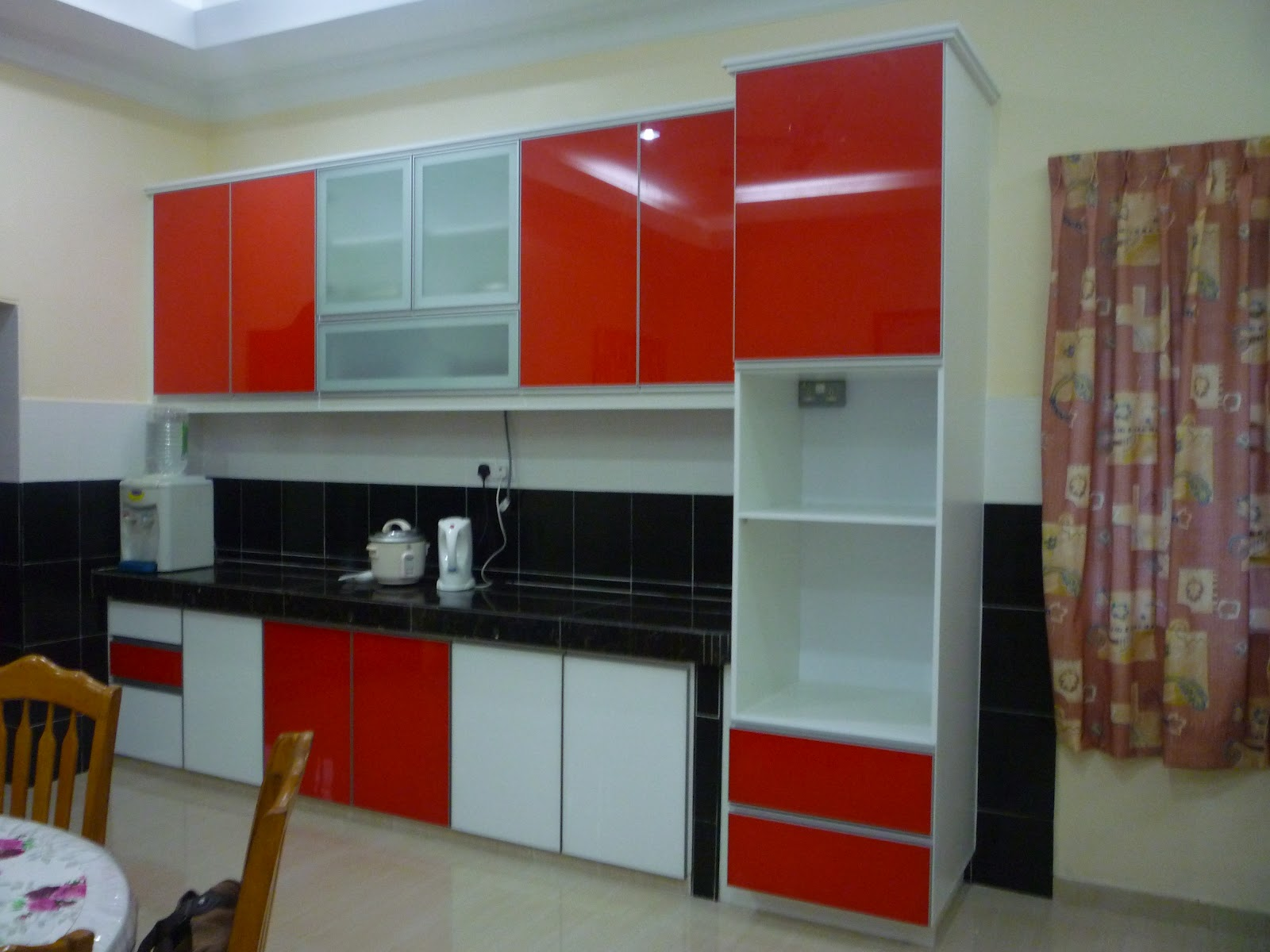 Red Kitchens with White Cabinets