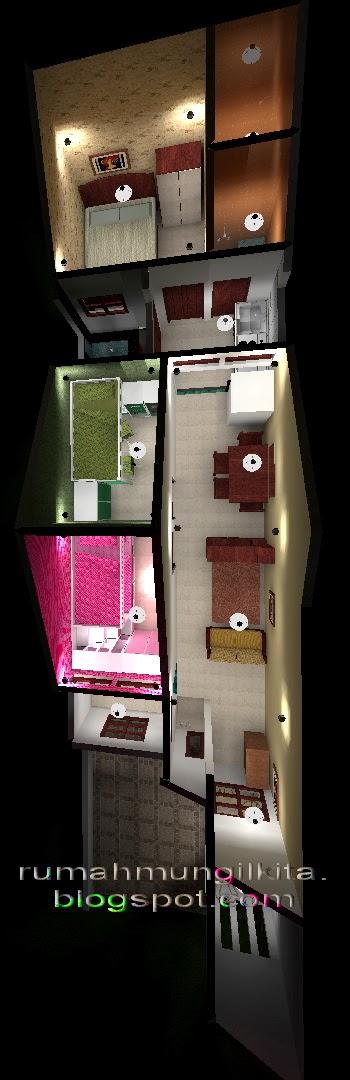 Desain rumah lebar 4 meter dengan 3 kamar tidur - denah 3 dimensi