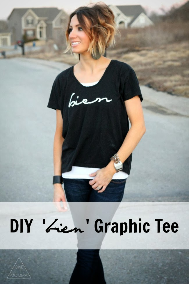 How to Make an Awesome Graphic Tee- Bien tee with freezer paper