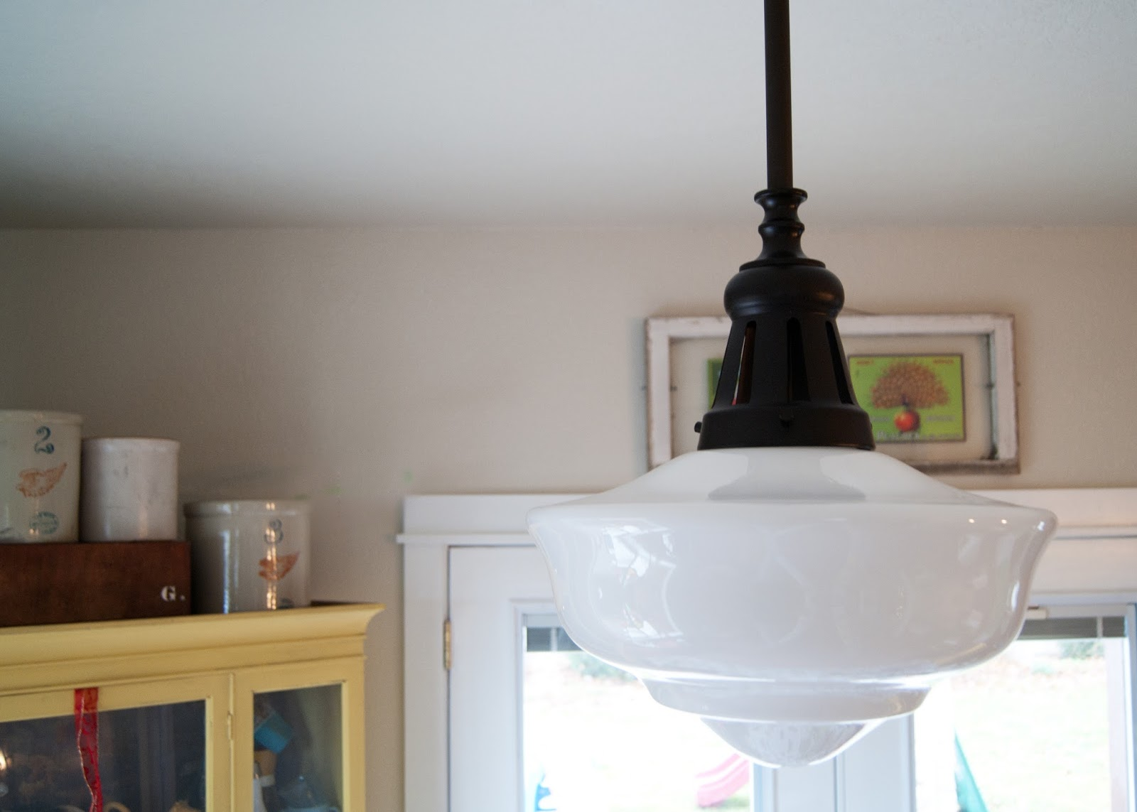 Oil Bronze light with schoolhouse shade