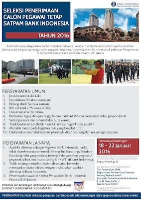 Lowongan Kerja Calon Pegawai Tetap SATPAM Bank Indonesia 2016