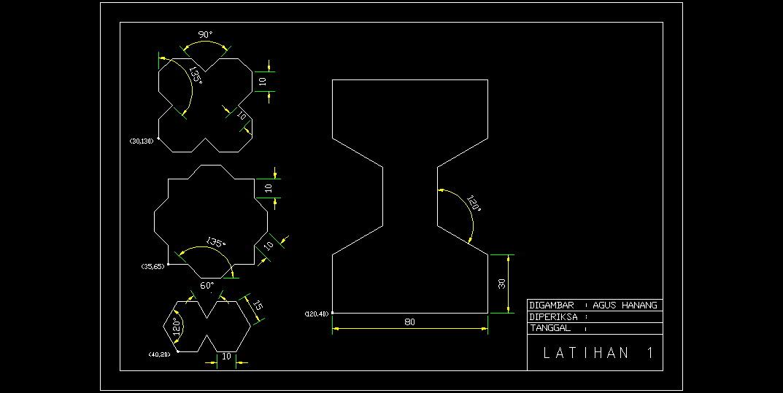 Contoh Gambar Latihan AutoCAD 2D