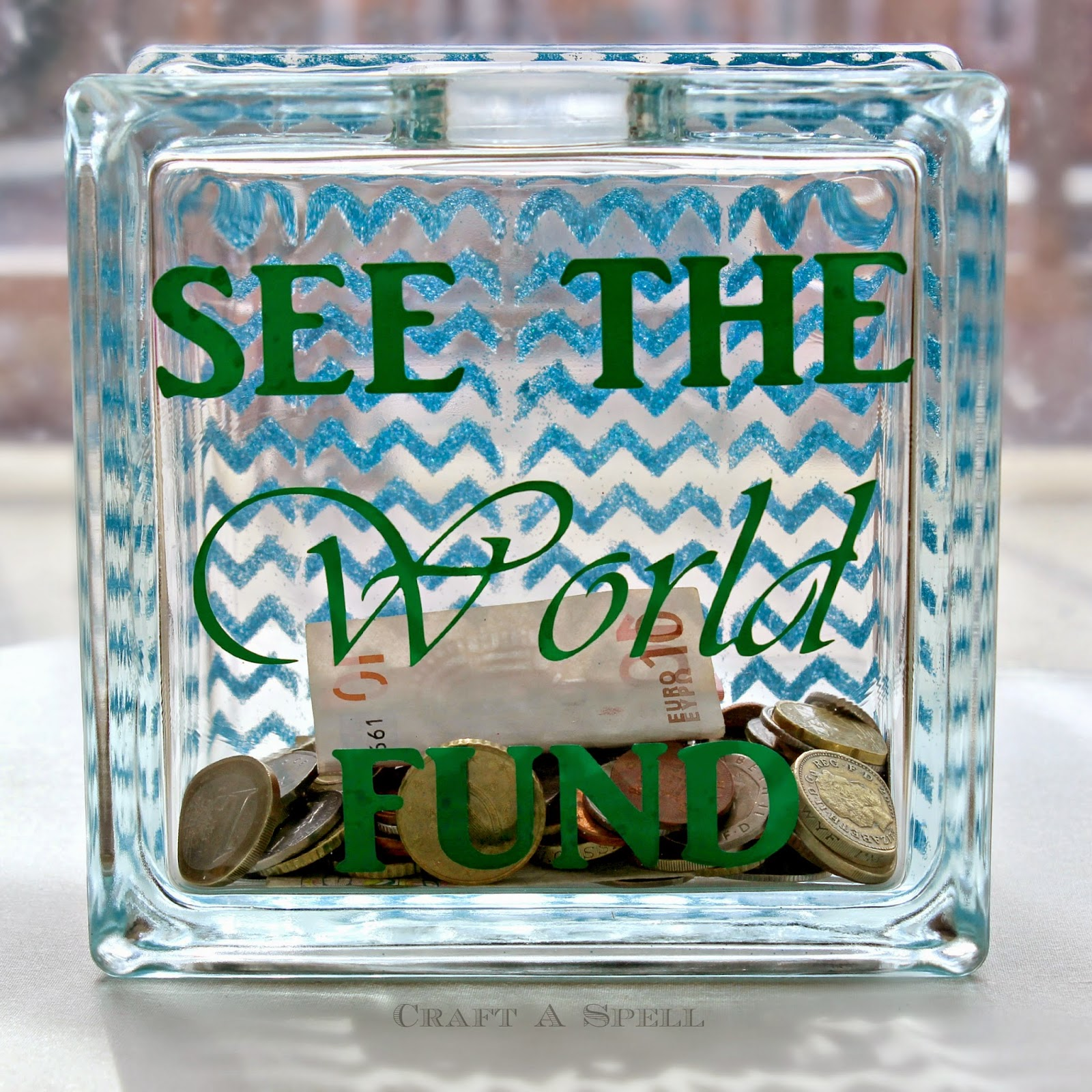 Craft a spell stenciled travel fund bank and mod podge for Travel fund piggy bank