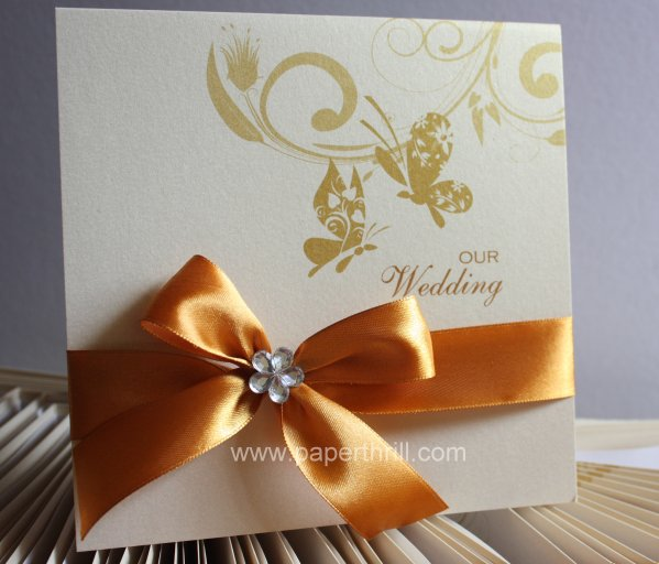 Butterfly nature wedding invitation card
