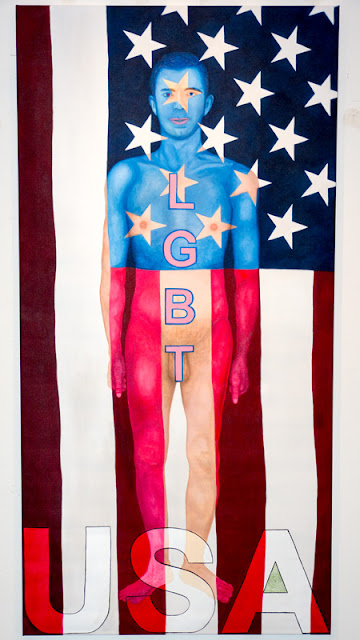 Private First Class Manning Standing At Attention Naked (Chelsea Manning Transparency Activist) Painting by Syd Stevens.