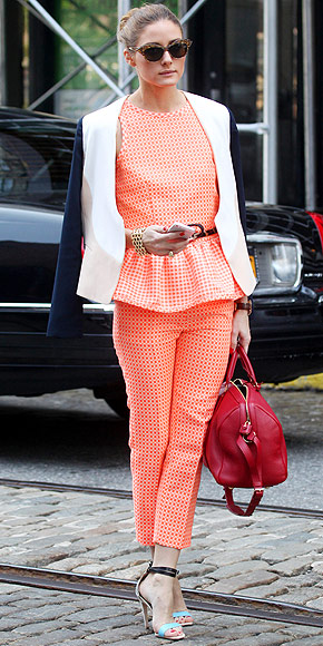 Olivia Palermo wearing a matching check print look by MSGM