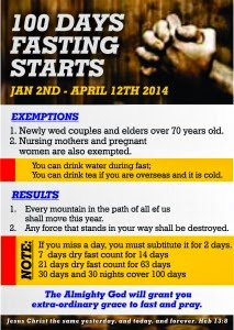 RCCG Starts 100 Day Fast For 2014