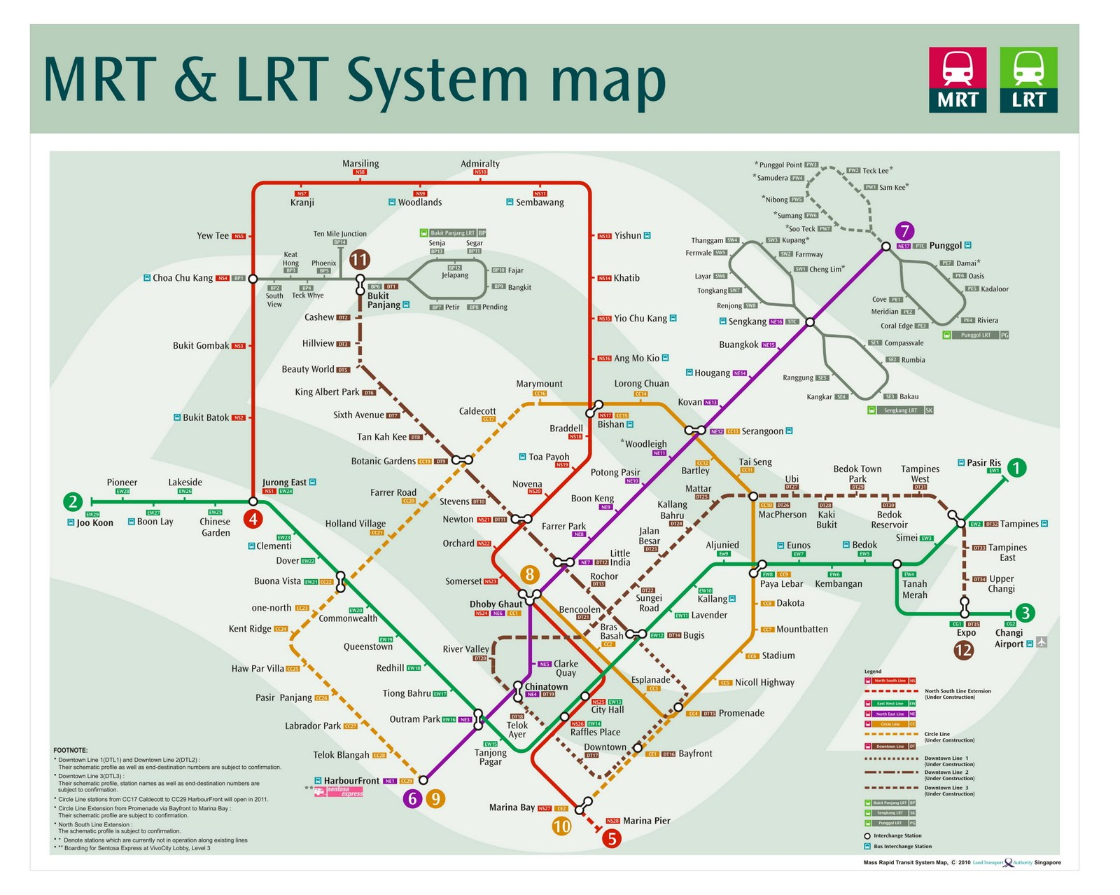 mrt lrt including circle and downtown lines system map