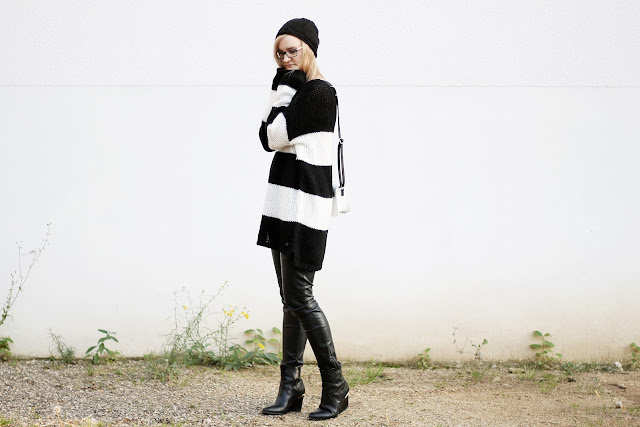 black and white block stripes knit jumper