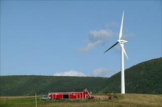 paisaje con molino eolico