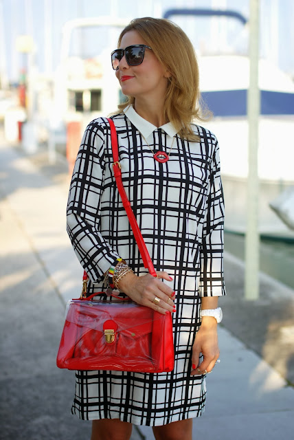 frontrowshop check dress, marc by marc jacobs clearly bag, Fashion and Cookies, fashion blogger