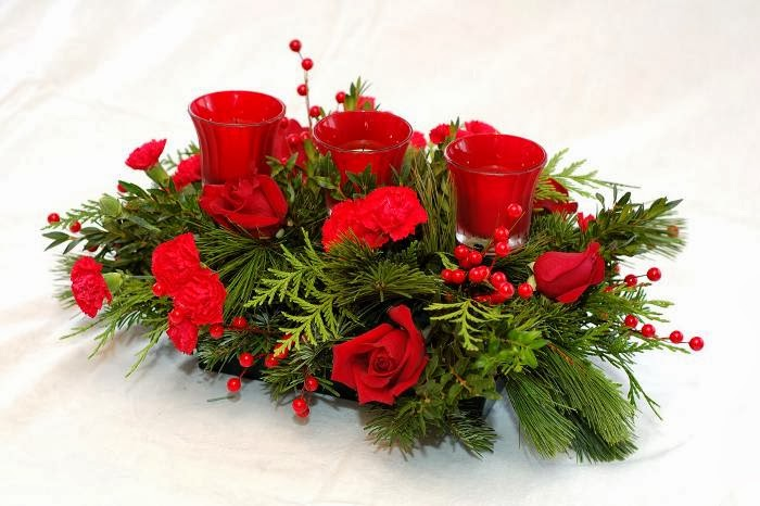 Centros de mesa de navidad con flores parte 1 - Centros navidad manualidades ...