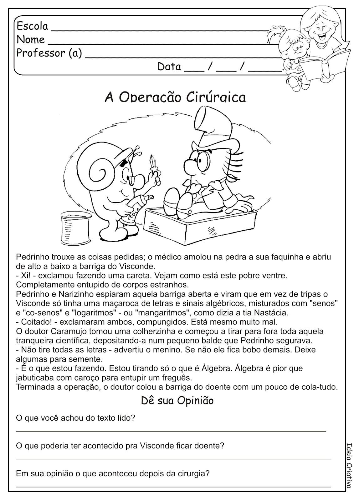 Atividade Texto e Interpretação Sítio do Pica Pau Amarelo
