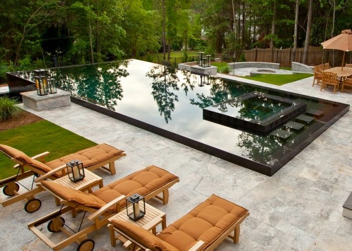 Modern family pool with jacuzzi