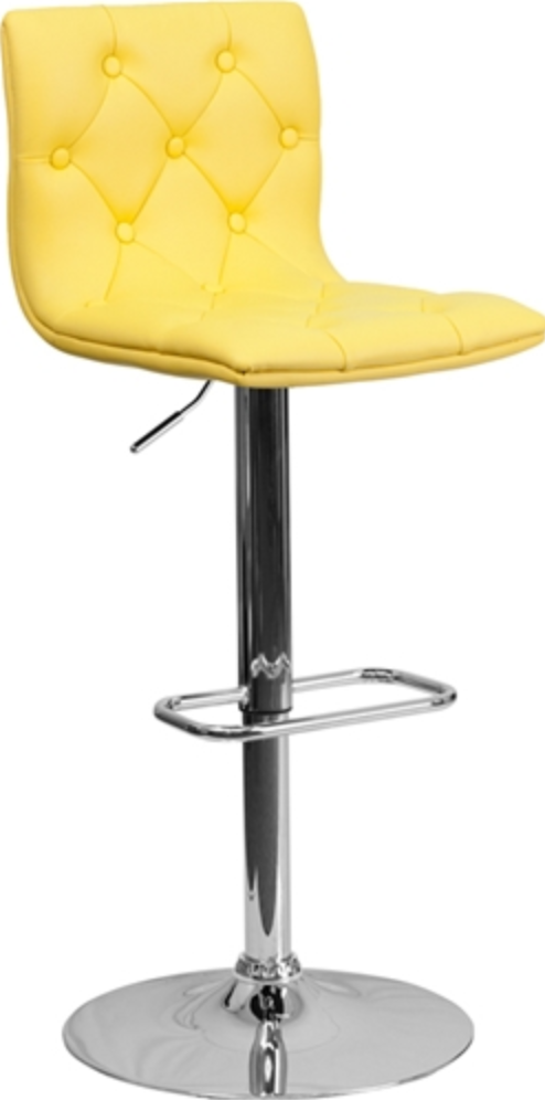 Adjustable Yellow Cafe Bar Stool by Flash Furniture