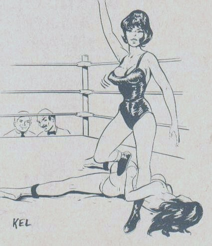 women wrestling art