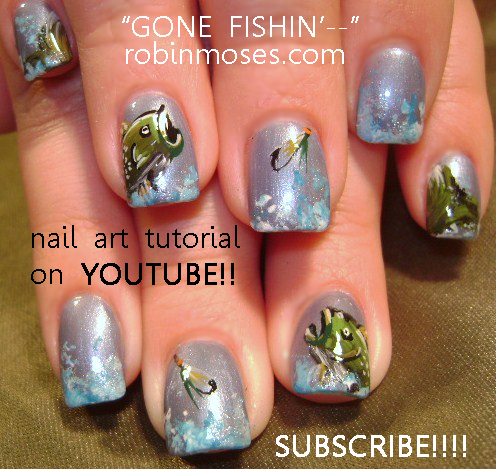 Gone Fishin Fishing Nail Art Tutorial Design Zebra Animal Print