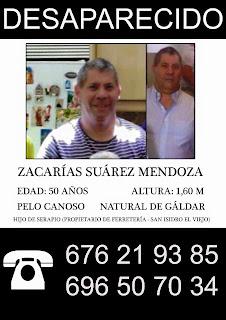 Desaparece un hombre de Gáldar el domingo, Zacarías Suárez Mendoza