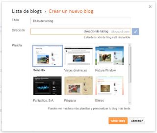 Dar un título y una dirección, y seleccionar la plantilla para el blog